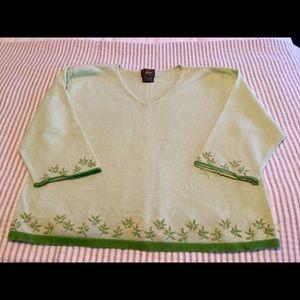 Sweet v neck light green embellished sweater